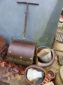 CAST IRON GARDEN ROLLER, A JAM PAN, CORNER FEEDER ETC.