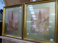 E NEVIL ( 19TH/20TH CENTURY) TWO FLEMISH TOWN VIEWS SIGNED WATERCOLOURS 36 X 26 CM