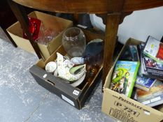 A MIXED LOT TO INCLUDE VARIOUS DVDS, GLASS WARES ETC.