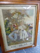 AN ANTIQUE NEEDLEPOINT PANEL, UNCLE TOM AND EVA, IN A MAPLE FRAME. 48 X 36.