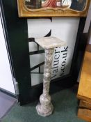 A CARVED ALABASTER PEDESTAL 92 CM HIGH