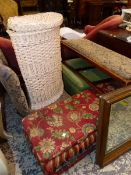 FOUR ANTIQUE STOOLS AND A NURSING CHAIR.