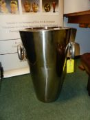 A PAIR OF TALL SILVERED PLANTERS H 60 CM