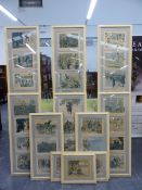 THIRTY TWO EARLY 20TH CENTURY FRAMED BOOK ILLUSTRATIONS MOUNTED IN A SET OF TEN UNIFORM FRAMES (