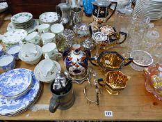 A VINTAGE BONE CHINA TEA SET, VICTORIAN FOUR PIECE TEA SET, GLASS WARES ETC.
