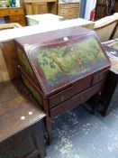A RED CHINOISERIE LACQUER FRENCH LOUIS XV BUREAU, THE FALL PAINTED WITH A SCENE OF A FAMILY OF THREE