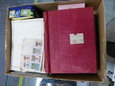FIVE VARIOUS GB AND WORLD STAMP ALBUMS, OTHER LOOSE STAMPS ETC.
