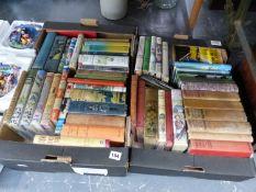 TWO BOXES OF VINTAGE CHILDREN'S BOOKS, BIGGLES, ENID BLYTON, ETC.