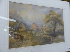 E WALKER (19th C. SCHOOL) A SHROPSHIRE FARM, SIGNED WATERCOLOUR 34 X 50cms. TOGETHER WITH THREE