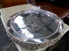 SIX LARGE ARMORIAL DECORATED PLATTERS.