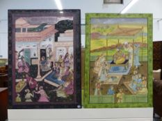 CONTEMPORARY INDIAN SCHOOL. TWO SCENES OF ROYAL FIGURES ON TERRACES, OIL ON CLOTH UNFRAMED.