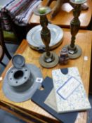 A PAIR OF BRASS CANDLESTICKS, A PEWTER CAPSTAN INKWELL, A WARMING PLATE , NEW FOREST MAP ETC.