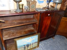 A 19th C. MAHOGANY CABINET AND A SIMILAR OPEN BOOKCASE.
