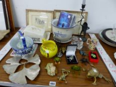 VARIOUS FROG ORNAMENTS, TWO DOG PRINTS ETC.