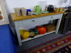 A SMALL PAINTED BASE KITCHEN SIDE TABLE AND POT BOARD BASE.