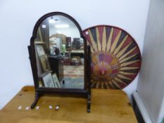 A SMALL MAHOGANY DRESSING TABLE MIRROR AND AN EASTERN HAT.