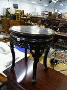 AN ORIENTAL HARD WOOD URN STAND, A VICTORIAN DRESSING STOOL AND TWO FOOT STOOLS.