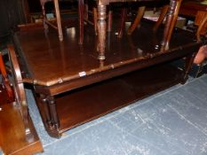 A LARGE TRAY TOP COFFEE TABLE WITH UNDER TIER.