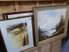 O C SHUSTER - A MOUNTAIN LAKE VIEW SIGNED OIL ON CANVAS TOGETHER WITH A LANDSCAPE WATERCOLOUR BY