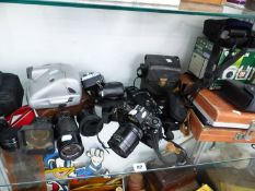 VARIOUS CAMERAS, TO INCLUDE PENTAX, CANNON, NIKON, POLAROIDS AND OTHERS.