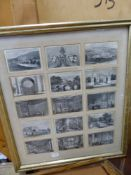 FIVE FRAMED ANTIQUE AND LATER PRINTS TO INCLUDE LANDSCAPES AND GENRE SCENES.