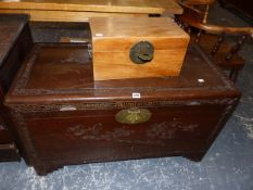 A CAMPHOR WOOD BLANKET BOX, AND A SMALL ORIENTAL BOX.