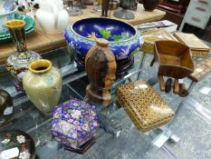 A PAIR OF CLOISONNE VASES ON STANDS, TWO FURTHER VASES, TWO LIDDED BOXES, AND A LARGE BOWL ON STAND,