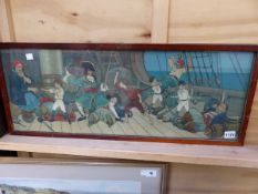 AFTER J HASSALL, (1868-1948) TWO NURSERY PRINTS, FROM PETER PAN SERIES. 27X72cms.