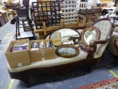 A 19th C. MAHOGANY SHOW FRAME CHAISE LOUNGE.