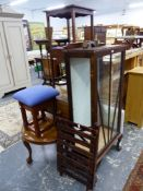 A DISPLAY CABINET, A LUGGAGE STAND, THREE OCCASIONAL TABLES AND A STOOL.