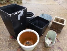 MISC. GARDEN POTS AND TWO GALVANIZED BUCKETS.