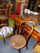 TWO RETRO NESTS OF TEAK TABLES A BOOK STAND, A RUSTIC TABLE, AND TWO CHILD'S CHAIRS.