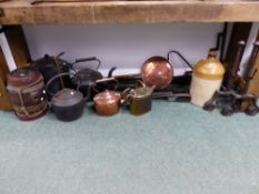 VARIOUS ANTIQUE CHIMNEY CRANES, CAST IRON COOKING POTS, COPPER AND BRASS ETC.
