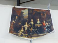 A CLASSICAL GROUP WALL PRINT AFTER THE OLD MASTERS ON CANVAS.