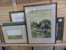 CM WIGGS ( 19TH /20TH CENTURY) FISHING BY THE CHAPEL 36 X 26 CM T/W FOUR LANDSCAPES BY DIFFERENT