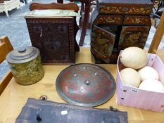 FOUR OSTRICH EGGS, AN EASTERN SHIELD, TWO TABLE CABINETS ETC.