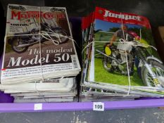 A QUANTITY OF MOTORCYCLE MAGAZINES.