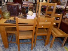 A MODERN OAK DINING TABLE AND SIX SIDE CHAIRS.