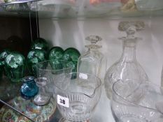 VICTORIAN,RINSING BOWLS, SEVEN GRADUATED, SULPHIDE DUMP PAPERWEIGHTS, DECANTERS ETC.