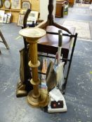 TWO VINTAGE VACUUM CLEANERS, A TOWEL RAIL, ETC.
