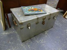 A LARGE ALLOY COVERED CABIN TRUNK.