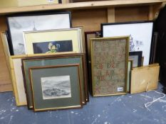 VARIOUS ANTIQUE AND LATER LANDSCAPE PRINTS, TOGETHER WITH AN ANTIQUE ALPHABET SAMPLER, WATERCOLOURS,