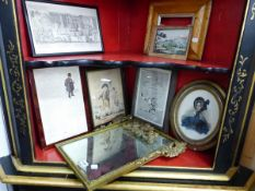 AN ANTIQUE CARVED GILTWOOD MIRROR, TOGETHER WITH VARIOUS ANTIQUE AND LATER PICTURES INC. A MAPLE