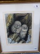 JOHN TENNENT, (20th C.) ARR. TWO OWLS SIGNED WATERCOLOUR, 31X20cms, TOGETHER WITH THREE ANIMAL