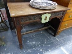 A VICTORIAN GOTHIC OAK HALL TABLE.