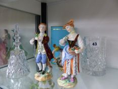 A WATERFORD CRYSTAL LISSMORE CANDYBUD VASE, A CAPO DI MONTE, SMALL EWER, A PAIR OF DRESDEN FIGURINES