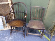 A COUNTRY SPINDLE BACK ARMCHAIR, AND A SIDE CHAIR.