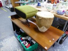 A MID CENTURY BOX STOOL, AN AFRICAN DRUM AND A COFFEE TABLE.