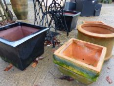 TWO SQUARE GLAZED GARDEN POTS AND 3 TERRACOTTA POTS