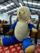 A VINTAGE BLUE AND WHITE TEDDY BEAR, WITH GROWL.
